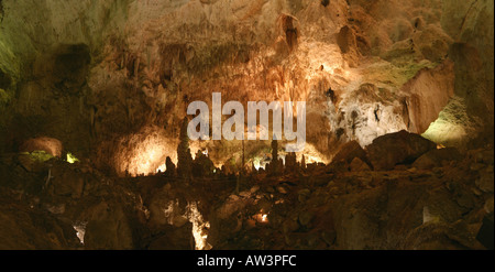 Complete panoramic view of the Big Room in Carlsbad Caverns from Top of the Cross, the farthest reaches on the main - Stock Photo