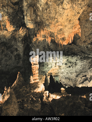 Formations and light in Carlsbad Caverns Big Room (stylized image) - Stock Photo