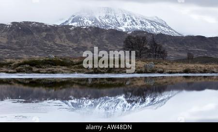 Cold morning on Loch Ba, Rannoch Moor, Glencoe, Scotland, UK - Stock Photo