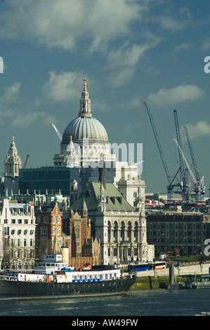 St Paul's Cathedral seen from Waterloo Bridge - Stock Photo