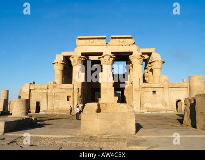 Facades of unusual doubleeTemple of Kom at  Ombo on the river Nile  Egypt - Stock Photo