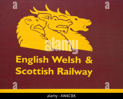 English Welsh and Scottish railway company logo on the side of one of their locomotives - Stock Photo