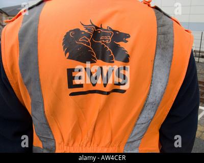 English Welsh and Scottish Railway company engineer wearing bright orange high visibility jacket - Stock Photo
