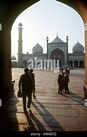 India Old Delhi entrance to the Jami Masjid - Stock Photo