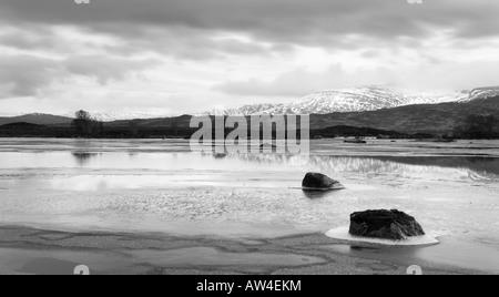Cold morning on Loch Ba Rannoch Moor Scotland UK - Stock Photo