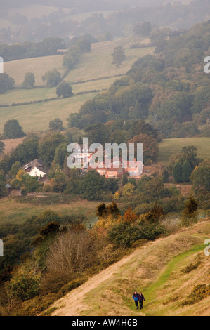 the view from the footpath to the earthwork british camp on the herefordshire beacon in the malvern hills on the - Stock Photo