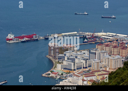City Of Gibraltar And The Port Viewed From The Upper Rock Nature Reserve - Stock Photo