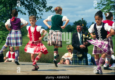 Highland dancing competition at the Stirling Highland Games, Stirling, Scotland, UK - Stock Photo