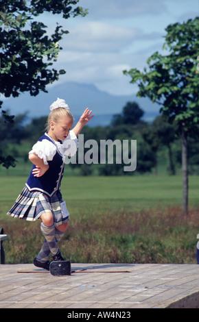 Highland dancer at the Stirling Highland Games Stirling Scotland - Stock Photo