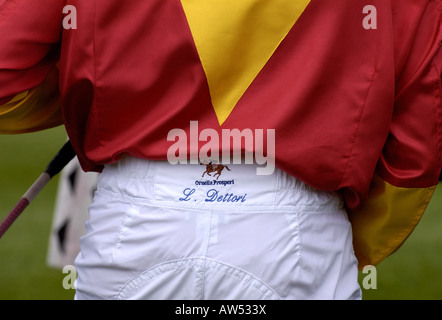 Frankie Dettori name embroidered on his jodpurs - Stock Photo