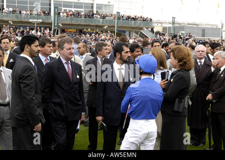 Frankie Dettori with His Royal Highness Sheikh Mohammed bin Rashid al Maktoum and trainer Saeed bin Suroor at Newmarket - Stock Photo
