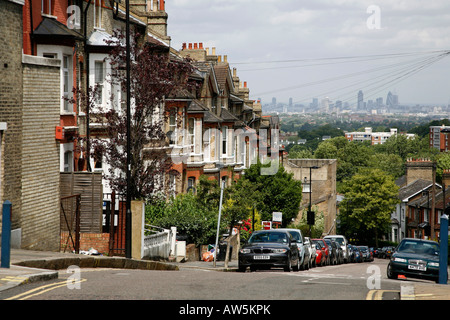 View of the London skyline from Westow Hill, Norwood - Stock Photo