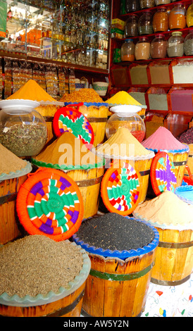 Exotic spices on sale in Aswans famous souq, One of most colourful markets in Egpyt - Stock Photo