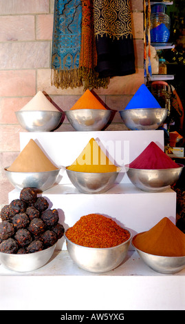 Exotic  spices on sale in  Aswan's famous souq , one of most colourfull markets in Egypt - Stock Photo