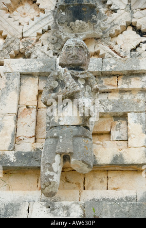Mayan Warrior Man Carving Detail Casa de las Monjas or the Nunnery Uxmal Mexico 2007 NR - Stock Photo