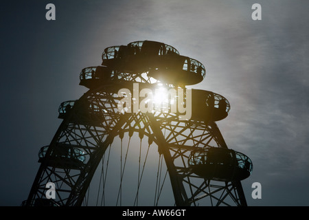 The British Airways London Eye tourist attraction on the south bank of the River Thames in London, England, UK - Stock Photo