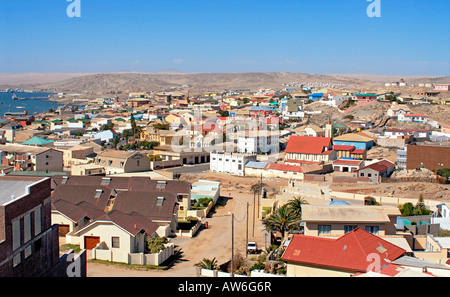 Image of the German heritage port town of Lüderitz in Namibia - Stock Photo
