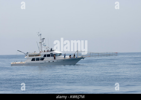 The extension off the bow of this commercial fishing vessel is for harpooning swordfish, Catalina Island, California, - Stock Photo