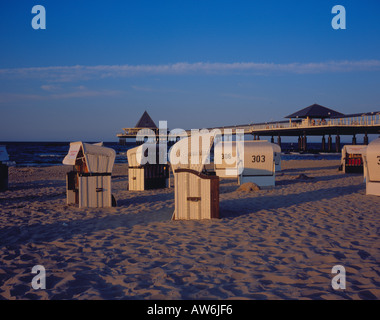 wicker beach chair at the beach of Heringsdorf, Usedom. Mecklenburg Vorpommern. Photo by Willy Matheisl - Stock Photo