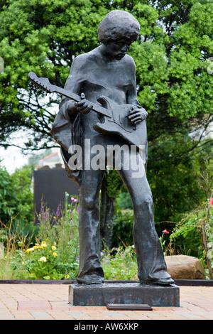 Statue of Jimi Hendrix at Dimbola Lodge, Isle of Wight, England  UK - Stock Photo