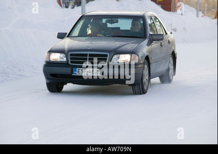 Driving in Saariselka Northern Finland - Stock Photo