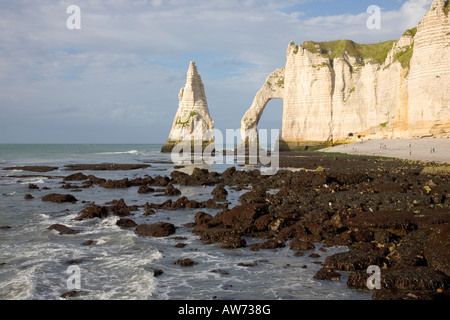 Etretat, Normandy, France. View to the Aiguille and Falaise d'Aval from shoreline at low tide. - Stock Photo