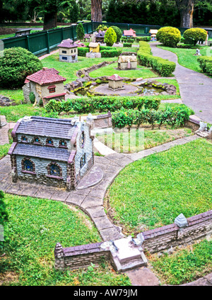 Miniature Tudor village in Fitzroy Gardens Melbourne Victoria Australia - Stock Photo