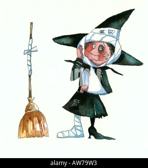 Witch after an accident with her broom - Stock Photo