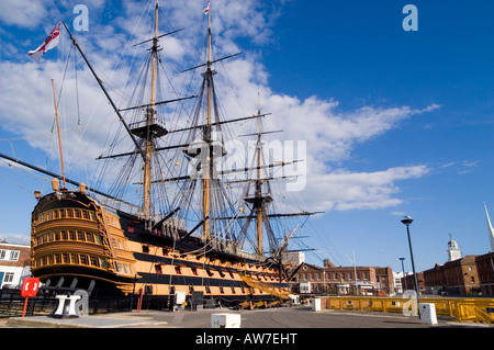 HMS Victory and her surroundings in the Historic Dockyard Portsmouth. One of the most important and famous ships - Stock Photo