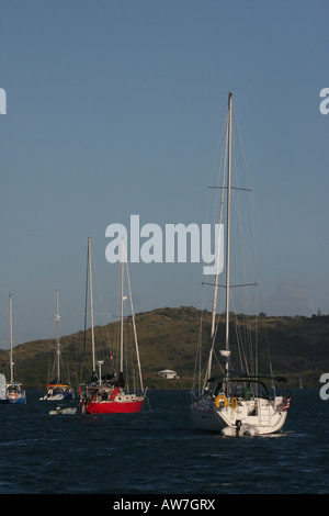 sailboats harbor culebra puerto rico - Stock Photo