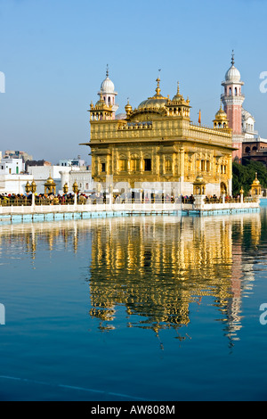 Peolpe visiting The Golden Temple, Amritsar, Punjab, India. - Stock Photo