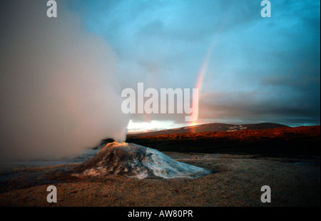 PICTURE CREDIT DOUG BLANE Rainbow and steaming geothermal vent near the Langjokull glacier Iceland - Stock Photo