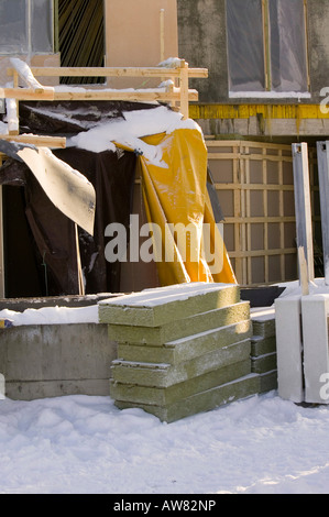 Insulation incorporated into a building in Saariselka Northern Finland - Stock Photo