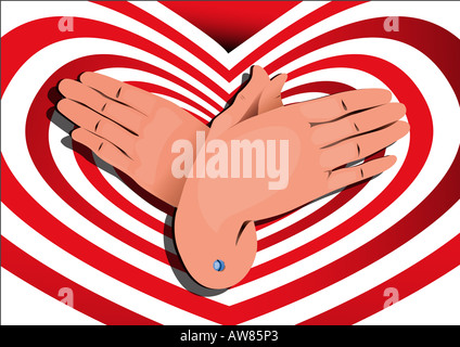 Hand sign 'butterfly' - Stock Photo