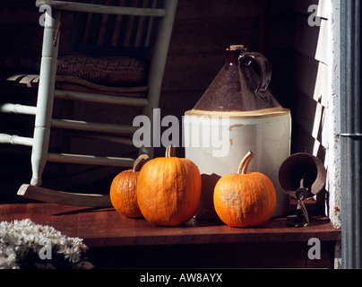 Porch with Pumpkins - Stock Photo