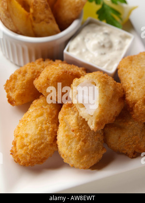 Scampi and fries kids editorial food - Stock Photo