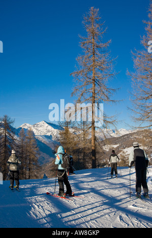 Skier son the Via Lattea Sauze d Oulx Piemonte Italy - Stock Photo