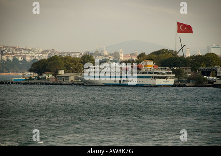 A cruise liner at port on the Bosphorus River, Istanbul, Turkey - Stock Photo