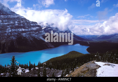 Clearing winter storm over Peyto Lake Banff National Park Alberta Canada - Stock Photo
