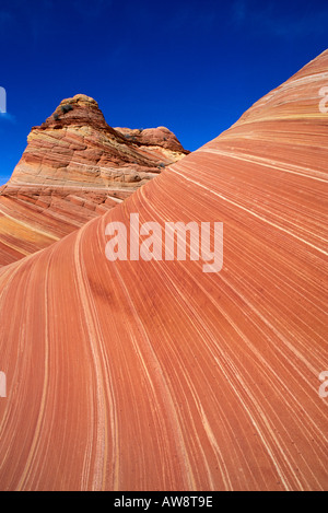 Swirling sandstone formation known as The Wave Coyote Buttes Paria Canyon Vermilion Cliffs Wilderness Arizona - Stock Photo