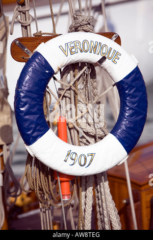 Classic Boat Veronique, Lifesaving Ring - Stock Photo