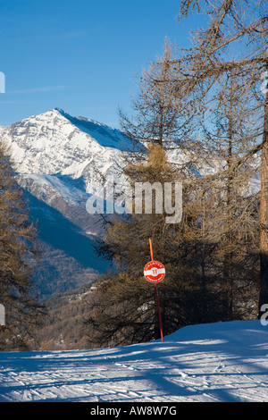 Via Lattea piste marker Sportinia Sauze d Oulx Italy - Stock Photo
