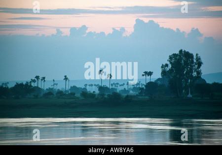 Ayeyarwady (or Irrawaddy) River and its banks at sunset, near Mandalay, Myanmar (Burma) - Stock Photo
