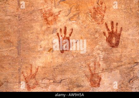Anasazi hand prints at Turkey Pen Ruin Grand Gulch Primitive Area Utah - Stock Photo