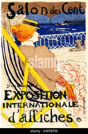 Salon des Cent 1895 Toulouse Lautrec Art Nouveau poster for the international poster exhibition using lithograph - Stock Photo