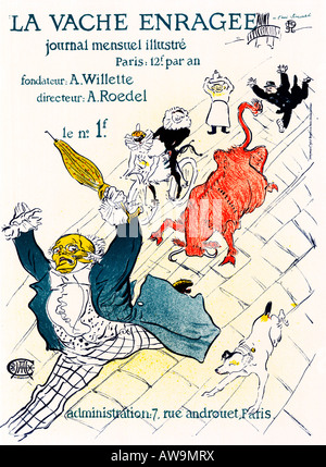 La Vache Enragee 1894 Art Nouveau poster by Toulouse Lautrec for the monthly illustrated magazine of Adolphe Roedel - Stock Photo