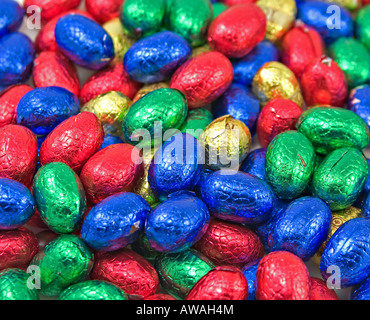 a large pile of colourful easter eggs - Stock Photo