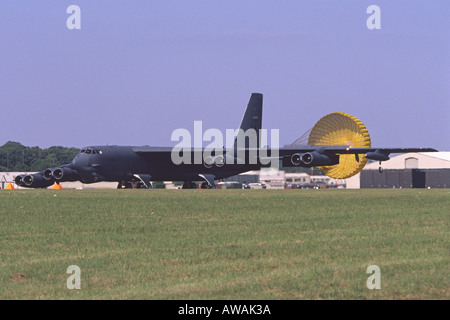 Boeing B-52H Stratofortess operated by the US Air Force braking after landing at RAF Fairford - Stock Photo