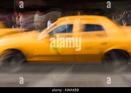 Taxi cab on street in New York NY - Stock Photo