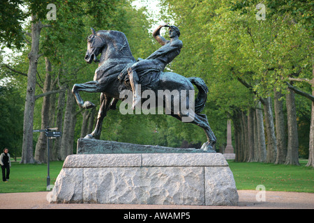 Statue of Physcial Energy by George Frederick Watts in Hyde Park London UK - Stock Photo
